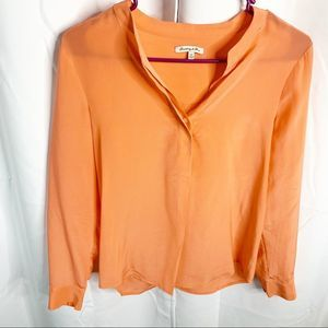 Madewell x Broadway & Broome silk blouse orange XS